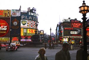 Large illuminated advertisements in Piccadilly Circus, London in 1962.